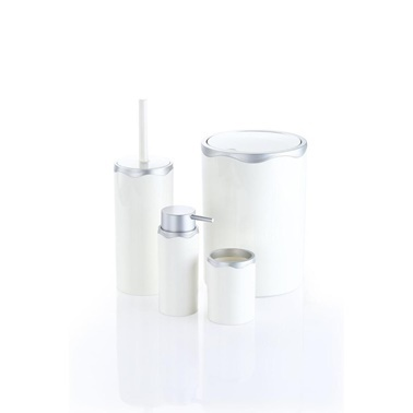 Azra 4 Parça Akrilik Beyaz Mat Gümüş Banyo Seti Gümüş